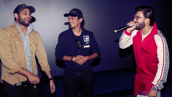 Siddhant Chaturvedy, Vijay Varma and Ranveer Singh perform at a multiplex in Mumbai.