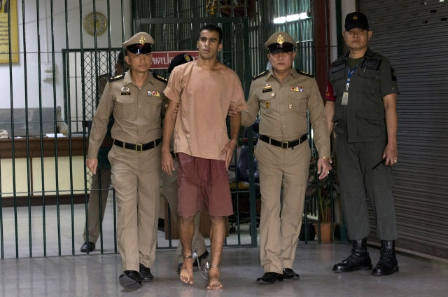 Bahraini football player Hakeem al-Araibi left from the criminal court in Bangkok, Thailand, Bangkok, Thailand, Monday, Feb. 4, 2019.