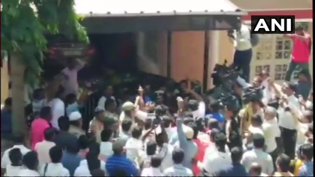 Mob at Hassan MLA's house