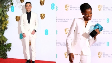 Rami Malek and Letitia Wright at BAFTA 2019.