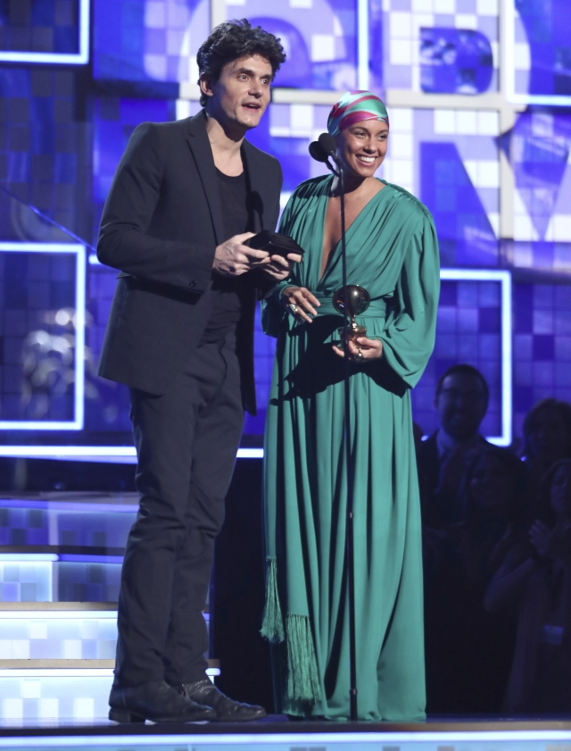 John Mayer and Alicia Keys present award for song of the year.