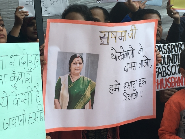 Protesters have been demanding that a new law against such NRI spouses should be brought soon.
