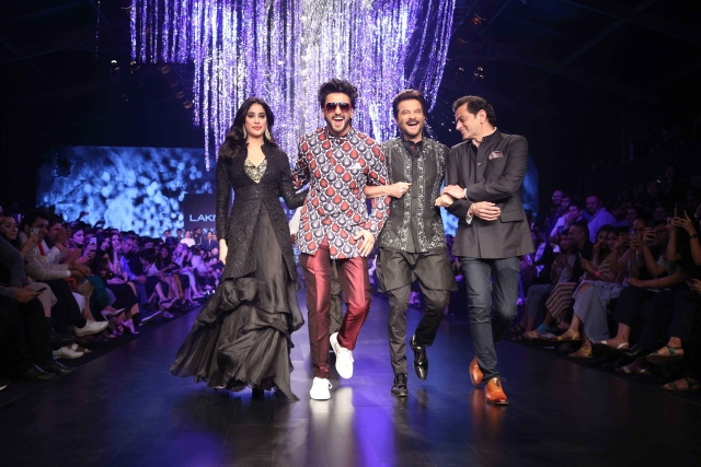 Janhvi, Ranveer and Anil have a gala time with designer Raghavendra Rathore.