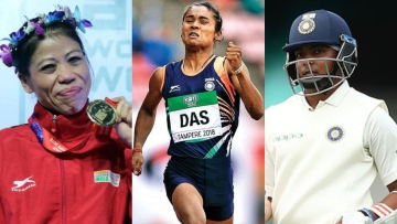 File pictures of MC Mary Kom (left), Hima Das and Prithvi Shaw.