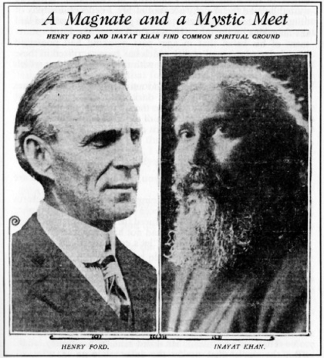 An article in The Detroit News, (Sunday, 7 February 1926) reports the meeting between Inayat Khan and Henry Ford.