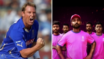 From left: Shane Warne and Rajasthan Royals in their new pink jersey.