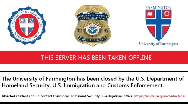 After the curtains fell: Here's what the University of Farmington's website displays now.
