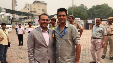 File picture of DDCA Selector Amit Bhandari with Virender Sehwag.