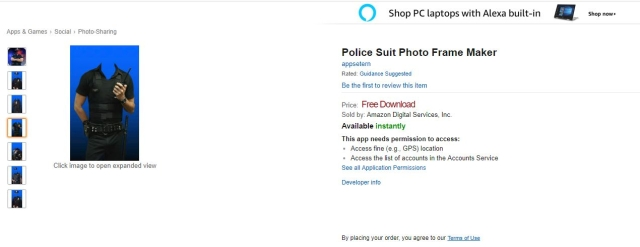 Screenshot of the Amazon page of Police Suit Photo Frame Maker.