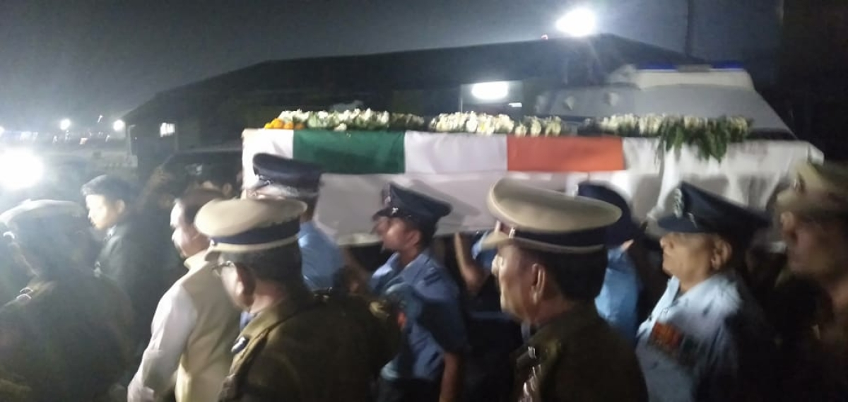 Mortal remains of Head Constable Maneswar Basamatari arrive at Air Force Station in Assam.