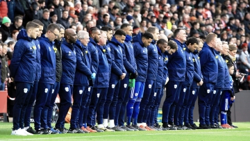Cardiff City players observe a minute's silence in honour of the late Emiliano Sala during the Premier League match at St Mary's Stadium, Southampton.