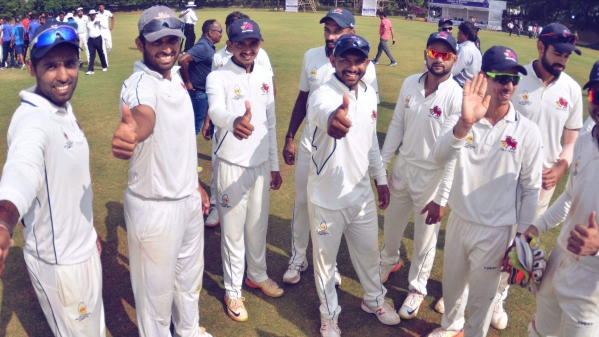 Mumbai's Ranji players celebrate their sole win of the previous season, where they failed to make it past the group stage.