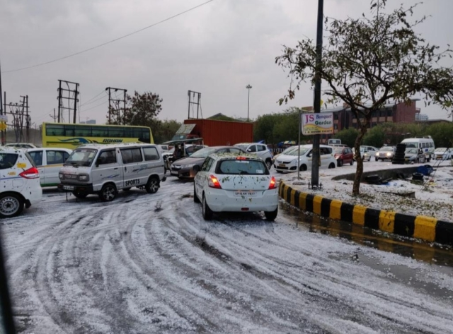 Hailstorm also caused a lot of traffic jam in sector 142.