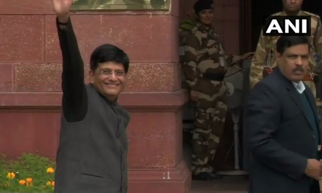 Piyush Goyal arrives at the Ministry of Finance.