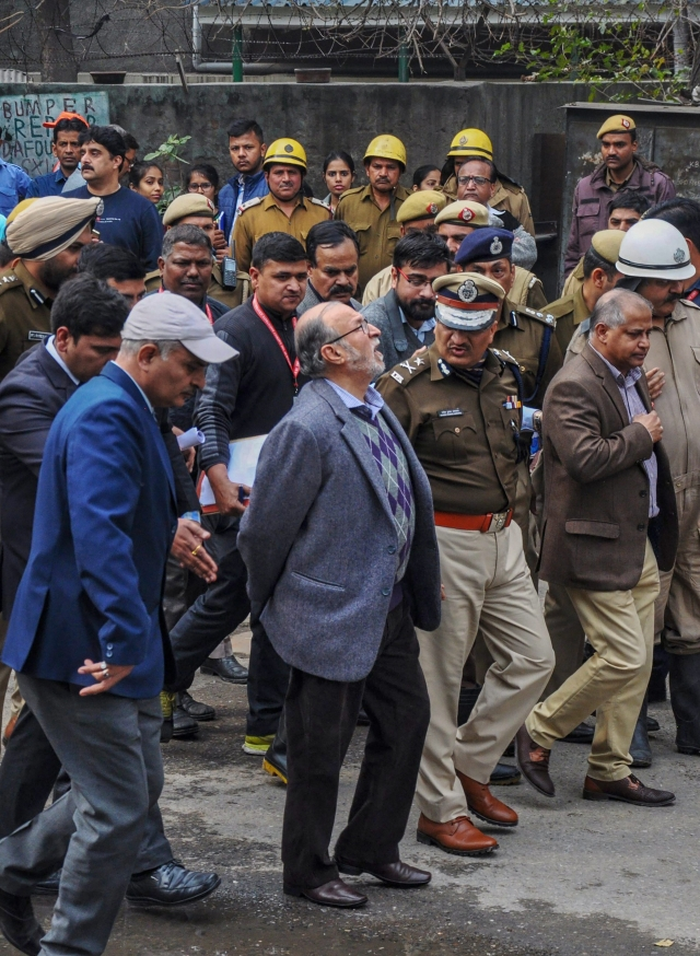 Lt Governor of Delhi Anil Baijal arrives to visit Karol Bagh's Hotel Arpit Palace where a massive fire broke out.