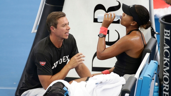 File picture of Naomi Osaka of Japan talking to her coach Sascha Bajin.