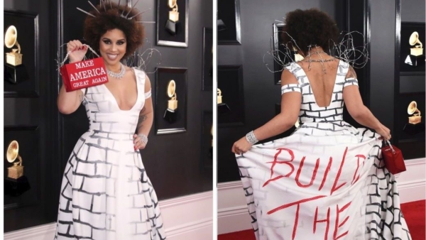 Twitter's Angry With This Singer's Border Wall Gown At the Grammys