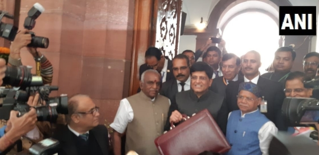 Piyush Goyal arrives at Parliament to present Modi government's interim Budget.