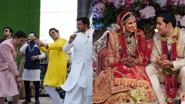 Karan Johar, Shah Rukh Khan, Ranbir and Badshah shake a legt at the Akash-Shloka wedding.