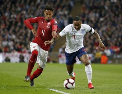 Sterling's hat-trick helps England crush Czechs 5-0