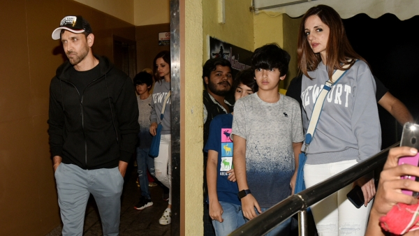 Hrithik Roshan and Sussanne Khan after the <i>Captain Marvel </i>show.