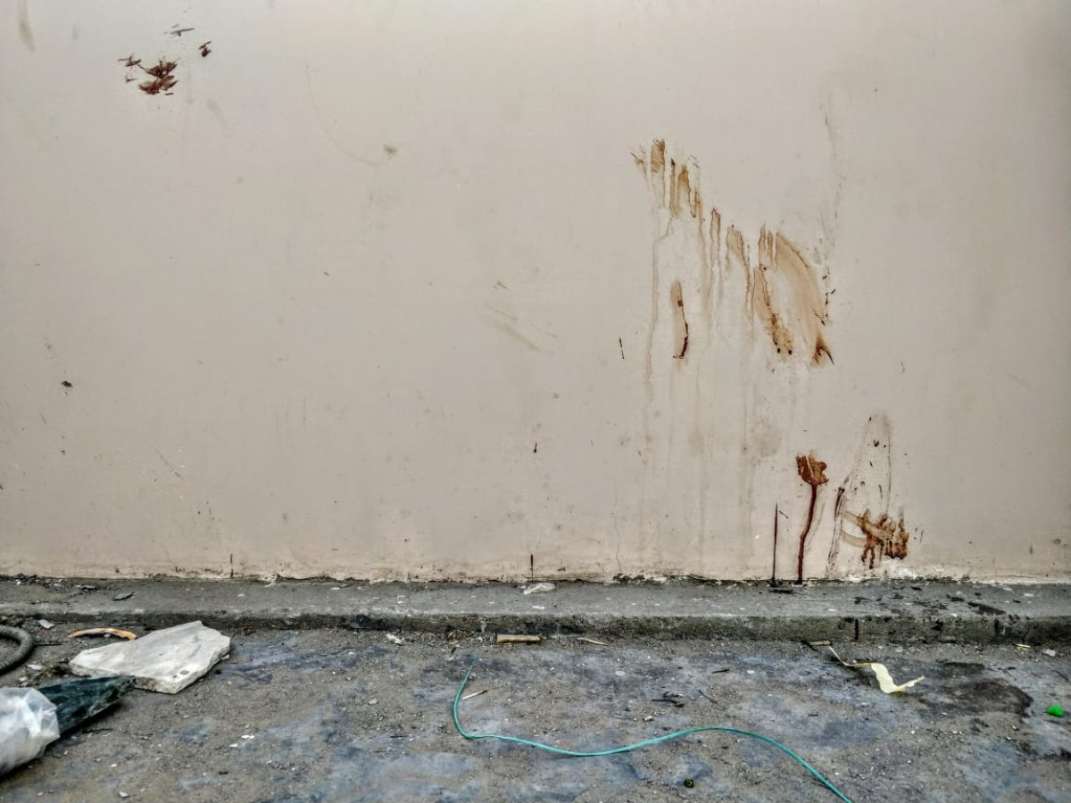 Blood stains the floor and the walls of the balcony where the mob attacked the Muslim men on 21 March, 2019.
