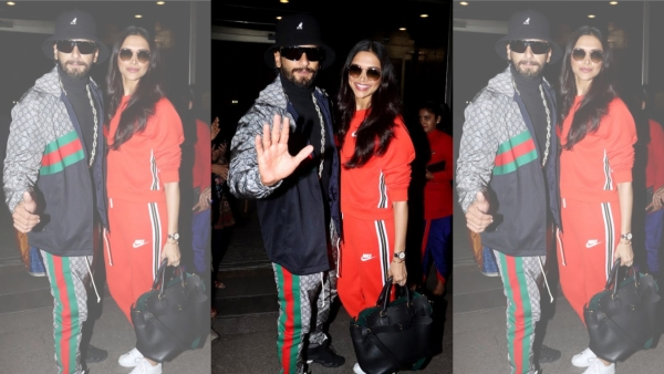 Ranveer Singh and Deepika Padukone at the Mumbai airport.