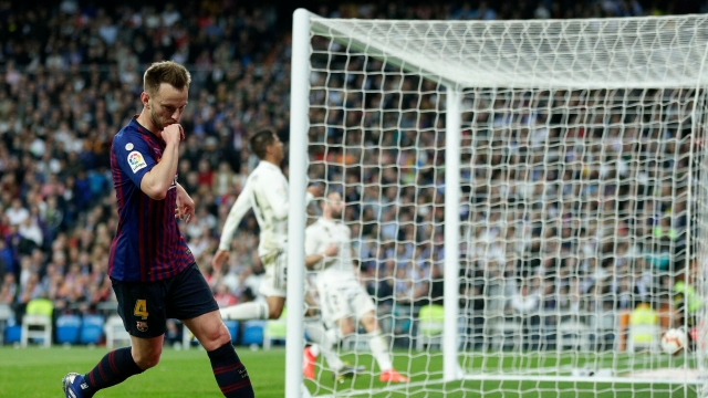 Barcelona midfielder Ivan Rakitic after scoring the only goal in the La Liga match between Real Madrid and FC Barcelona at the Bernabeu stadium in Madrid on Saturday, March 2.