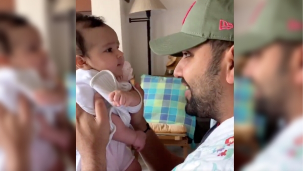 Mumbai Indians captain Rohit Sharma with daughter Samaira.