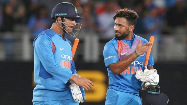 Rishabh Pant (right) replaced MS Dhoni in the Indian XI for the fourth ODI against Australia at Mohali, but was guilty of spurning two stumpings.