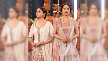Alia Bhatt and Madhuri Dixit in a still from <i>Kalank</i>.