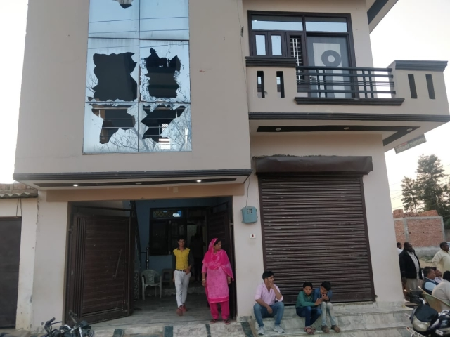 Sajid's three-floor home was vandalised on Holi, 21 March. Days later the shards of glass and broken windows continue to lie there.