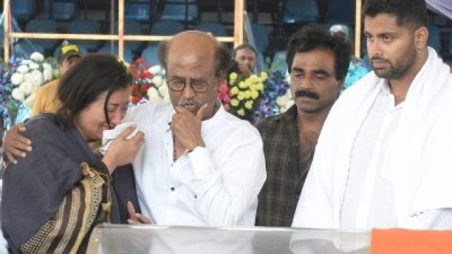Actor-turned-politician Rajinikanth consoles Sumalatha, widow of veteran Kannada actor MH Ambareesh, who died at a private hospital in Bengaluru on 25 November 2018.