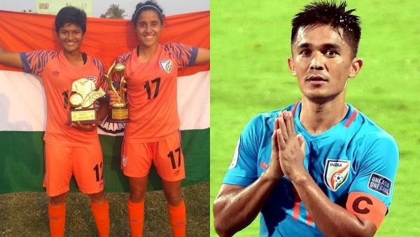Sunil Chhetri (left) praised the national women's team for its fifth consecutive SAFF title win.