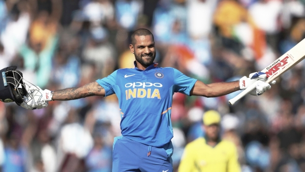 Shikhar Dhawan celebrates his century against Australia in the Mohali ODI.