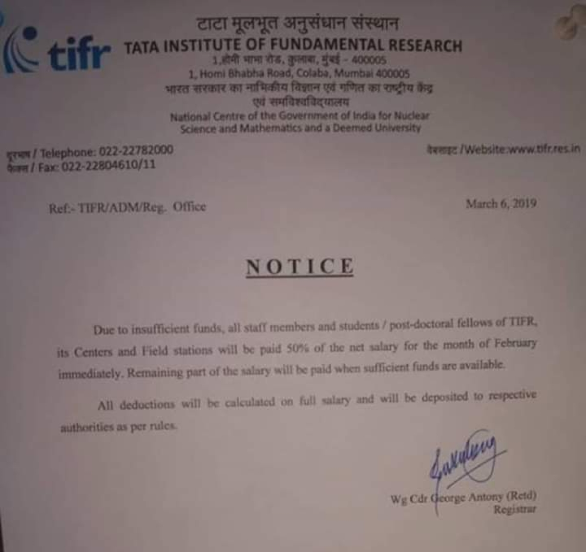 Image result for TIFR to pay half salaries