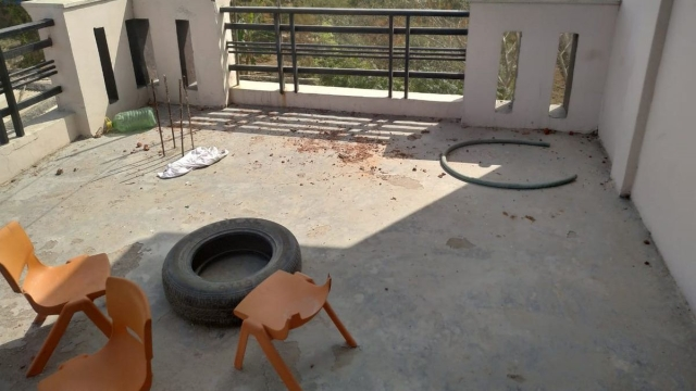 A picture of the terrace where members of the family were beaten.