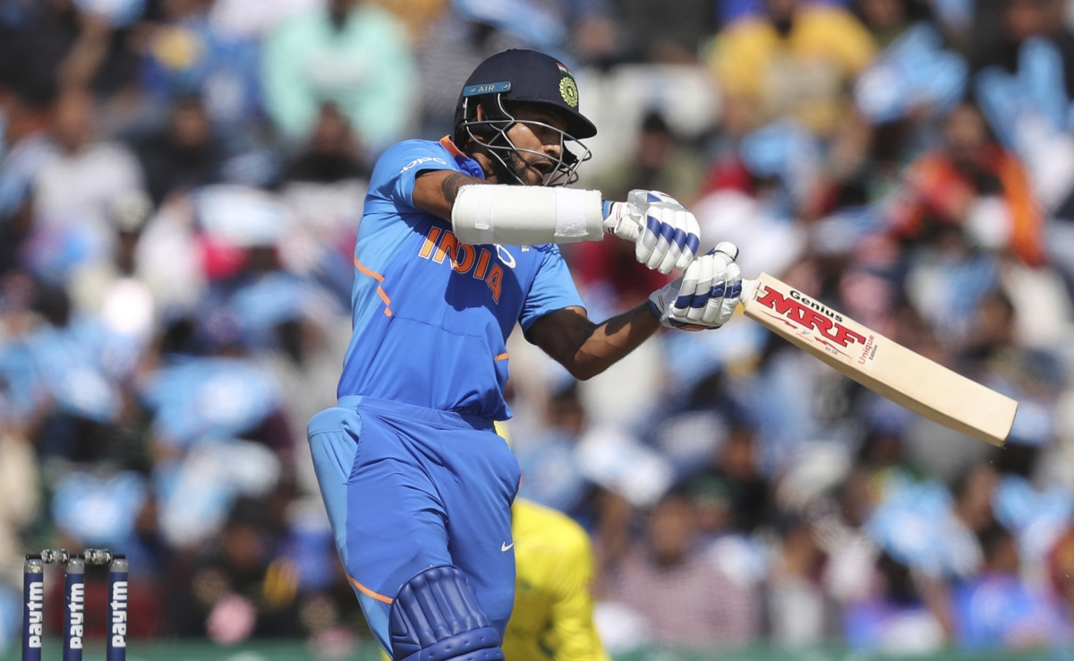 Shikhar Dhawan during his innings of 143 in Mohali against Australia.