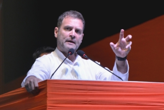 New Delhi: Congress President Rahul Gandhi addresses at the National Convention of OBC Department, at Indira Gandhi Stadium, in New Delhi, on March 27, 2019. (Photo: IANS)