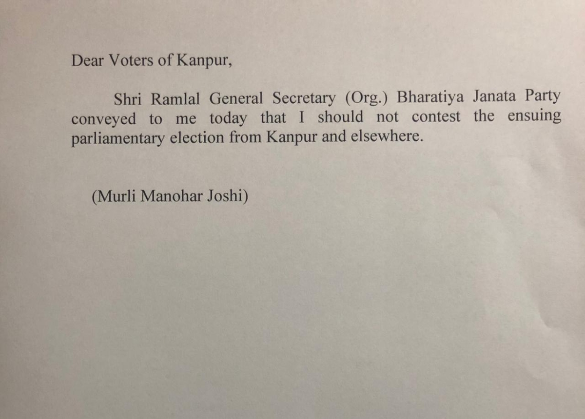 A letter addressed to the voters of Kanpur, purportedly from Joshi.