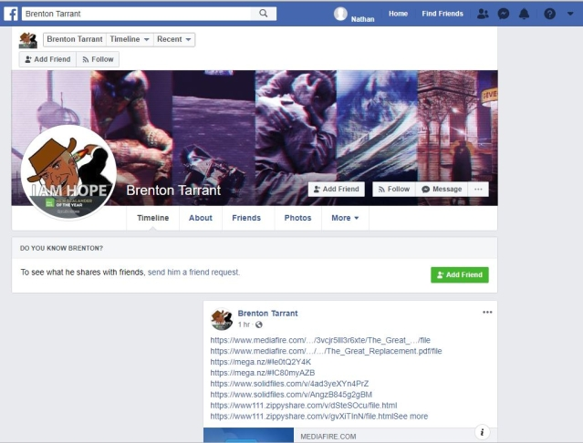 A screenshot of his now-deleted Facebook account.
