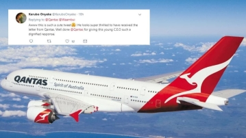 Letters from the youngest airline CEO to Australia's oldest airline CEO were uploaded by Qantas' Twitter account.
