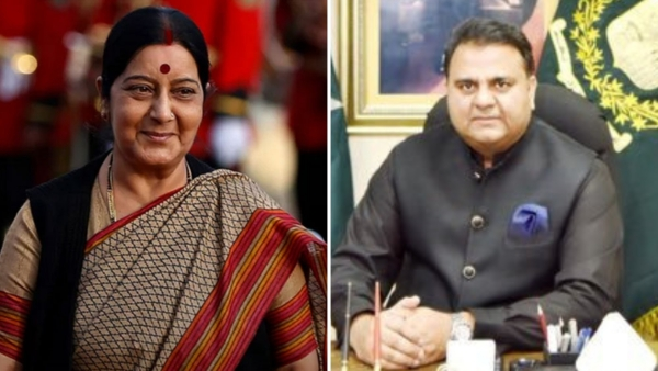 EAM Sushma Swaraj and Pakistan's Information Minister Fawad Chaudhry.