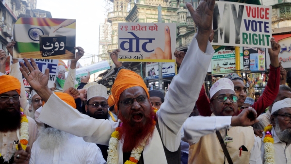 Indian Muslims shout slogans as they participate in a rally urging people to cast their votes, in Mumbai, India, Thursday, 14 March, 2019. India's national election will be held in seven phases in April and May.