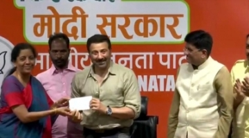 New Delhi: Actor Sunny Deol joins BJP in the presence of Union Ministers Piyush Goyal and Nirmala Sitharaman at the party