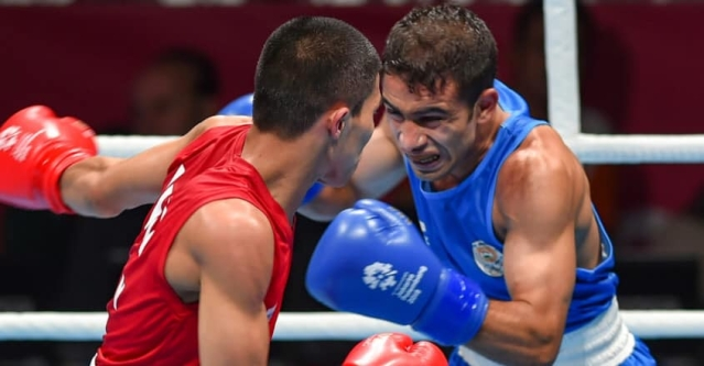 Amit Panghal in action during Asian Boxing Championship.