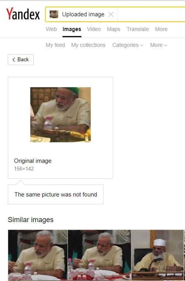 The search engine which shows the original picture of PM Modi sans the skull cap.