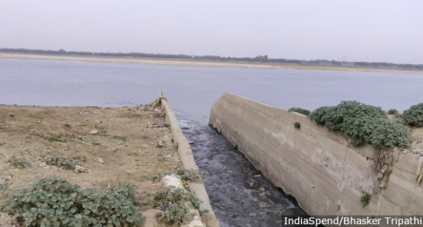 Assi, one of the 80 big drains in Varanasi.
