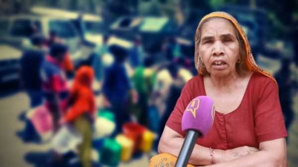 Mayadevi complains that the villages lacks cleanliness, toilets and faces major water shortage.