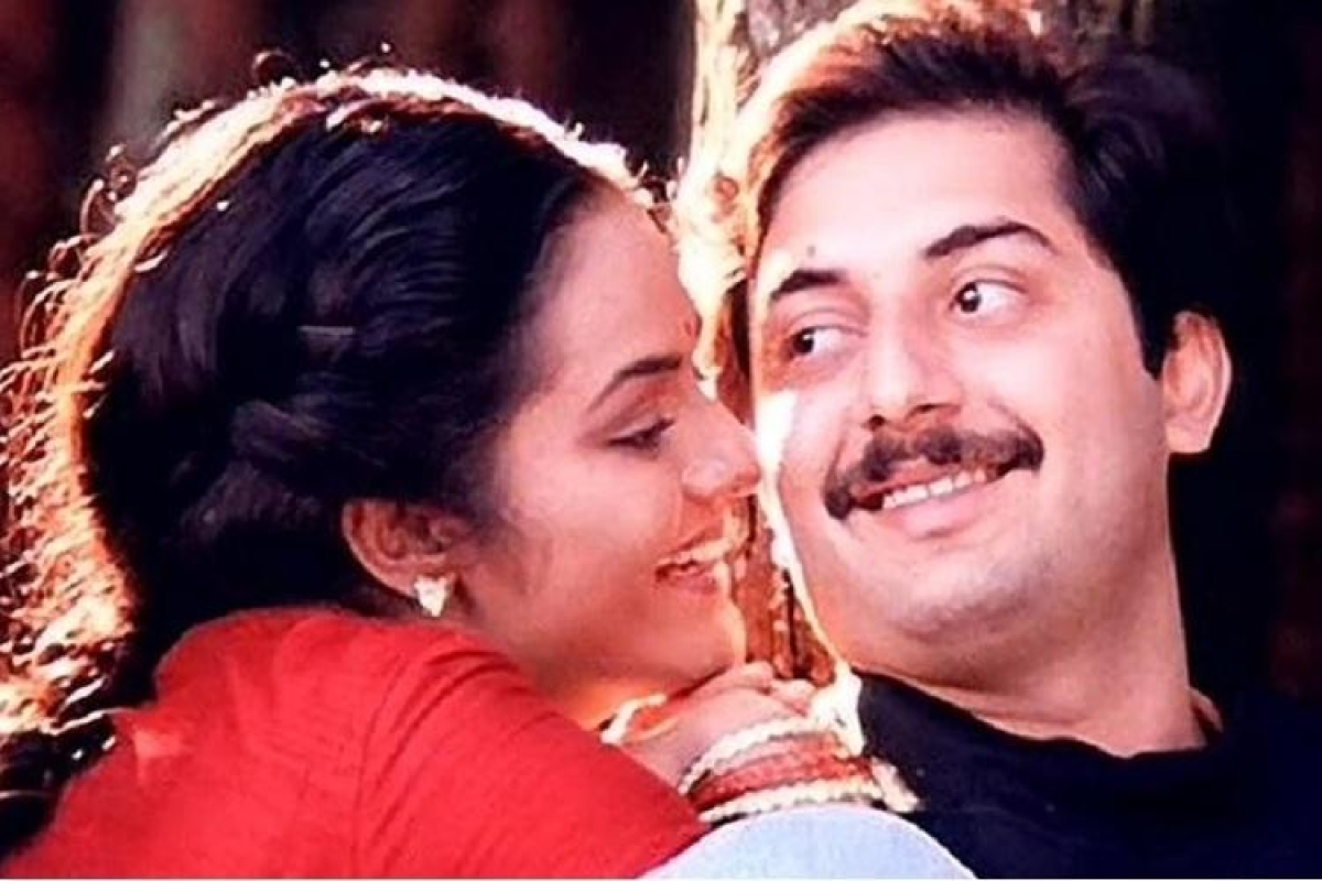 Actors Madhoo and Arvind Swamy in a still from<i> Roja</i>.